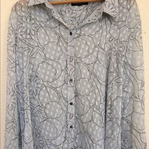 Banana Republic Dillon  sheer grey blouse